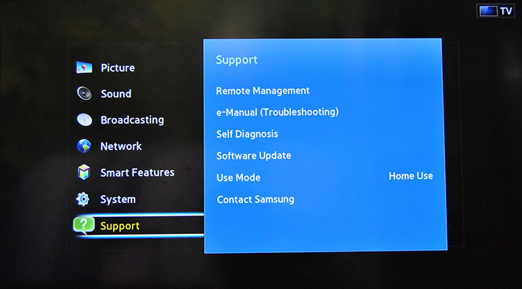Hard Reset Samsung Smart Tv – by using Menu